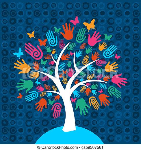 多様性, 木, 背景, 手 - csp9507561