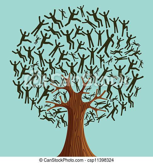 多様性, 木, 隔離された, 人々 - csp11398324