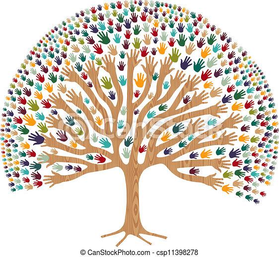 多様性, 木, 隔離された, 手 - csp11398278