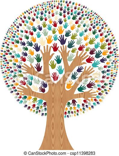 多様性, 木, 隔離された, 手 - csp11398283