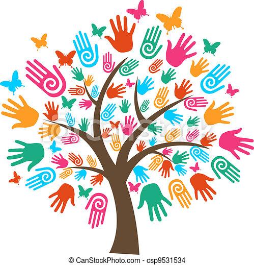 多様性, 木, 隔離された, 手 - csp9531534