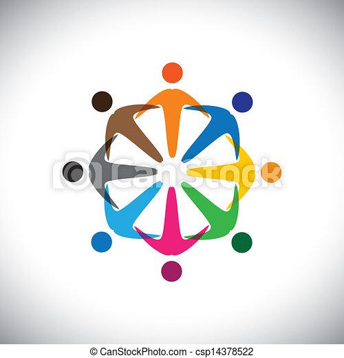 多様性, 概念, 人々, graphic-, 抽象的, 共同体, &, 共用体, 従業員, icons(signs)., 多様性, カラフルである, 遊び, 労働者, イラスト, 表す, 子供, のように, 共有, ∥など∥, ベクトル, 概念, 友情 - csp14378522