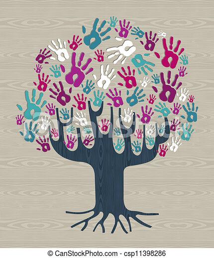多様性, 色, 木の 冬, 手 - csp11398286