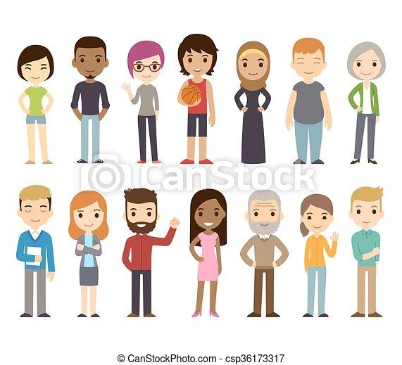 多様, 漫画, 人々 - csp36173317