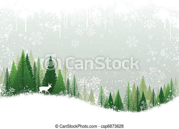 多雪, 森林, 背景, 冬天 - csp6873628