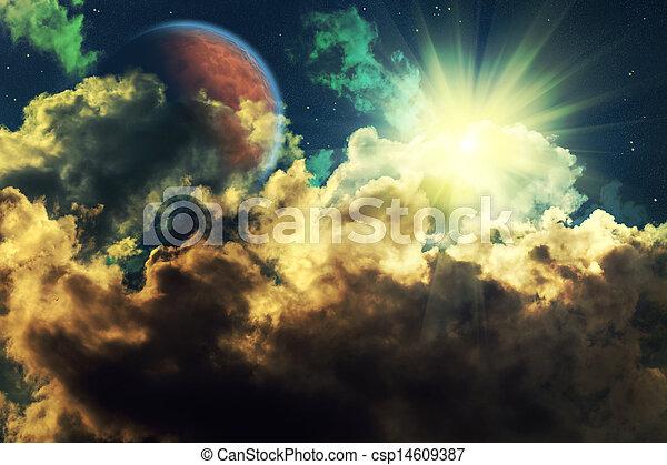 多雲, 夜晚 - csp14609387