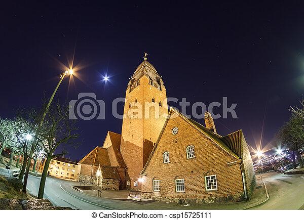 夜晚天空, masthugget, 教堂 - csp15725111