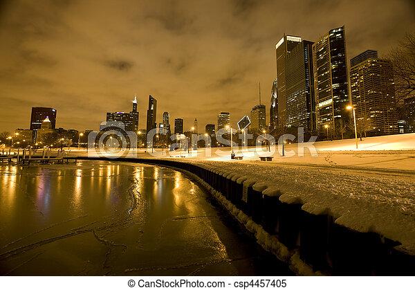 夜晚, 芝加哥, 城市, 攝影, 市區 - csp4457405