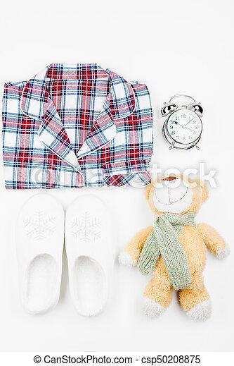 夢, 上, よい, 背景, ベビーおもちゃ, 白, パジャマ, 光景 - csp50208875