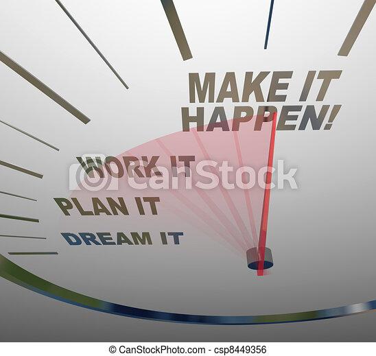 夢, 作りなさい, 仕事, それ, 刑務所, 計画, happen, 速度計, 目的を達しなさい - csp8449356
