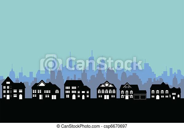 大きい都市, 郊外 - csp6670697