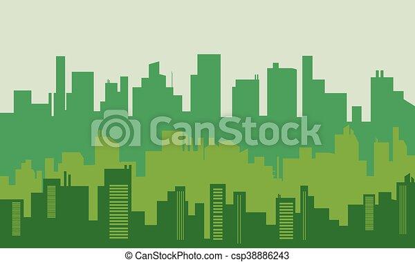 大きい, シルエット, ベクトル, イラスト, 都市 - csp38886243