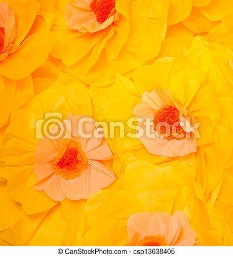 大きい, ハンドメイド, 黄色, ペーパー, 背景, 花 - csp13638405
