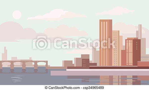 大きい, ベクトル, city., イラスト, 平ら - csp34965489