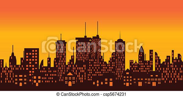 大きい, 上に, 日没, 都市 - csp5674231
