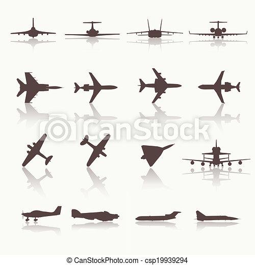 大きい, 別, 飛行機, コレクション, icons. - csp19939294