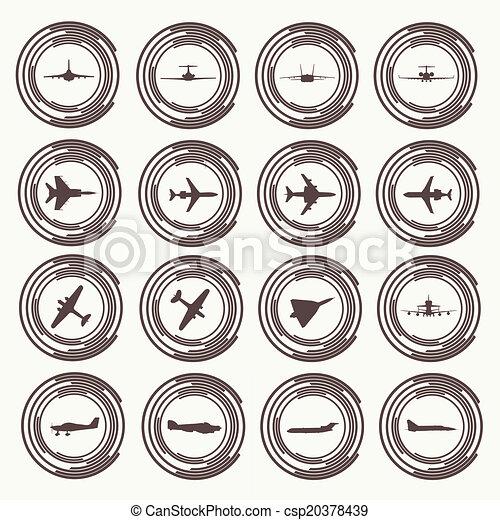 大きい, 別, 飛行機, コレクション, icons. - csp20378439