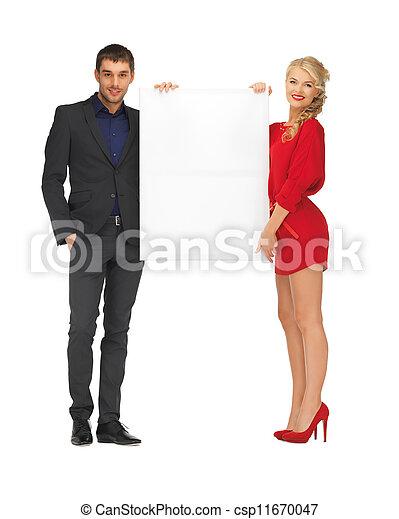 大きい, 恋人, 板, 保有物, ブランク - csp11670047
