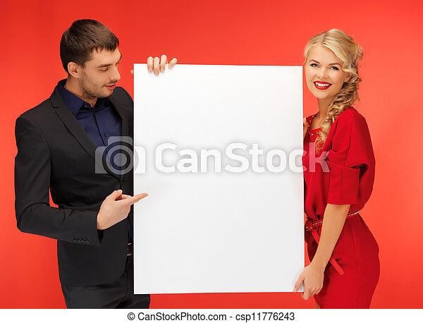 大きい, 恋人, 板, 保有物, ブランク - csp11776243