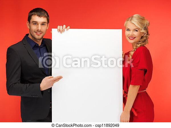 大きい, 恋人, 板, 保有物, ブランク - csp11892049