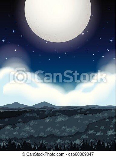 大きい, 満月, 夜 - csp60069047