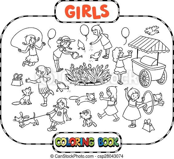 大きい, 着色, 女の子, 本, 遊び - csp28043074