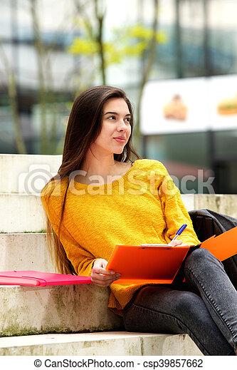 大学, ノート, ステップ, 学生, モデル - csp39857662