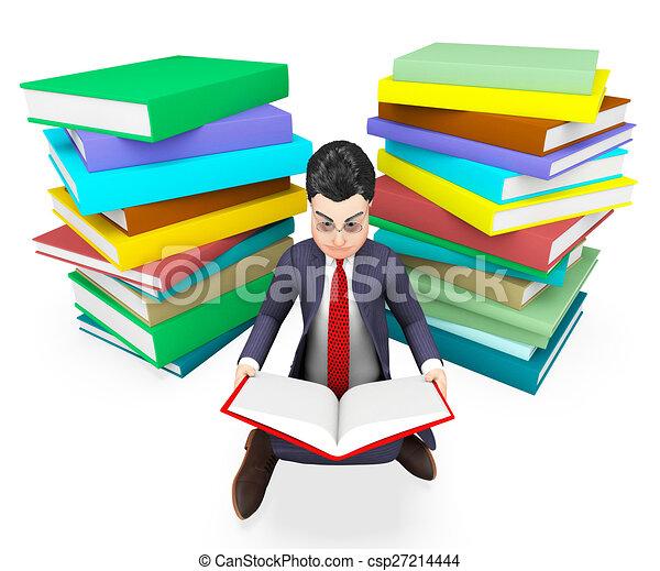大学, 本, ビジネスマン, 読書, 企業である, 援助, ショー - csp27214444