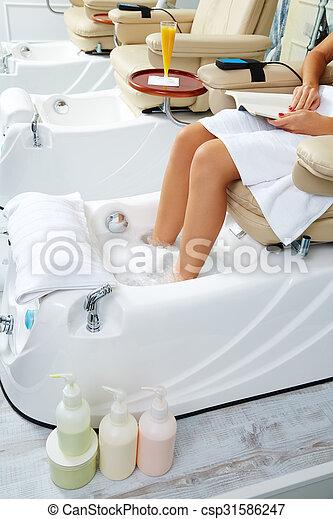 大広間, ペディキュア, ソファー, 爪, 浴室, フィート, 椅子 - csp31586247