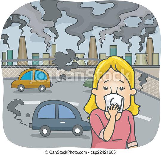 大気汚染 都市 女 彼女 カバー イラスト 汚される 鼻 役割を果たす