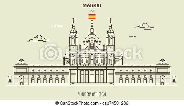 大聖堂, spain., マドリッド, ランドマーク, アイコン, almudena - csp74501286