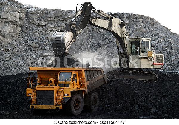 大, 採礦卡車, 黃色 - csp11584177