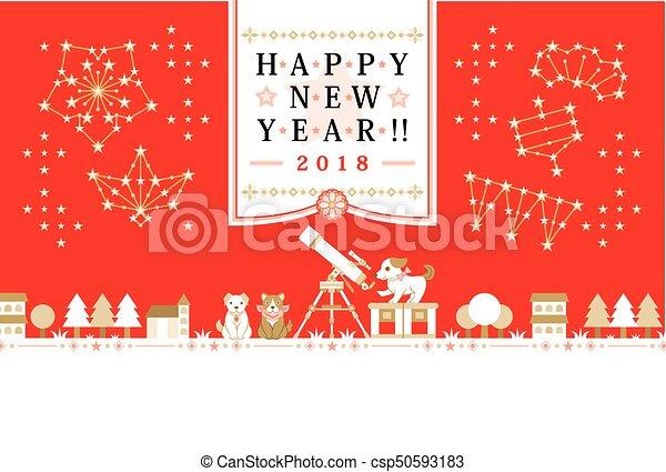 !!, 天の観察, 挨拶, 犬, 2018, 年, 新しい, カード, 幸せ - csp50593183