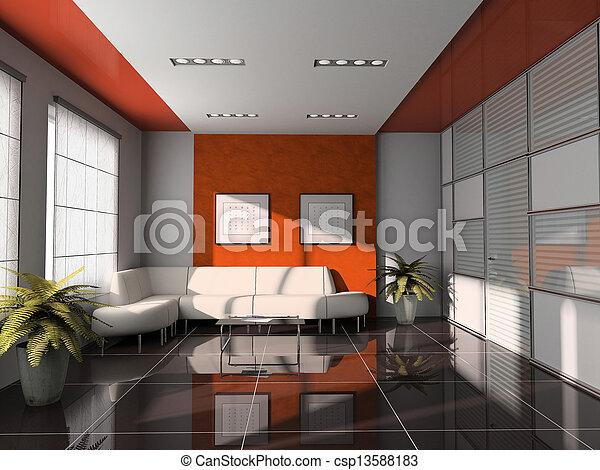 天井, オフィス, レンダリング, 内部, オレンジ, 3d - csp13588183