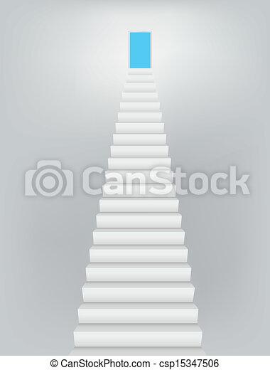 天国, ドア, 階段 - csp15347506