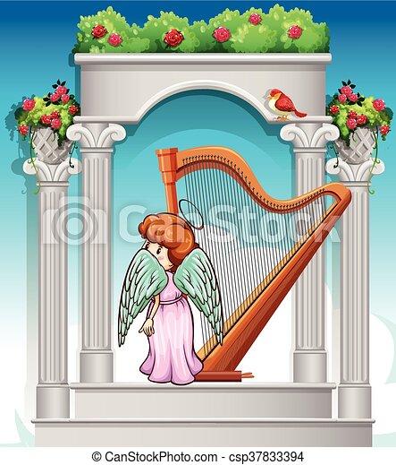 天国 天使 ハープ 天国 イラスト 天使 ハープ