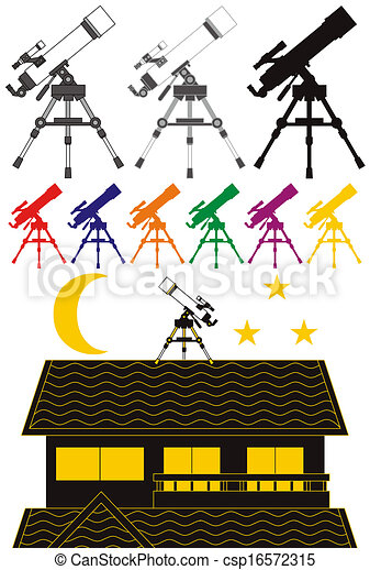 天文, 望遠鏡, /, silhouet - csp16572315