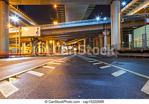 天橋, 城市道路, 夜晚 - csp15222668