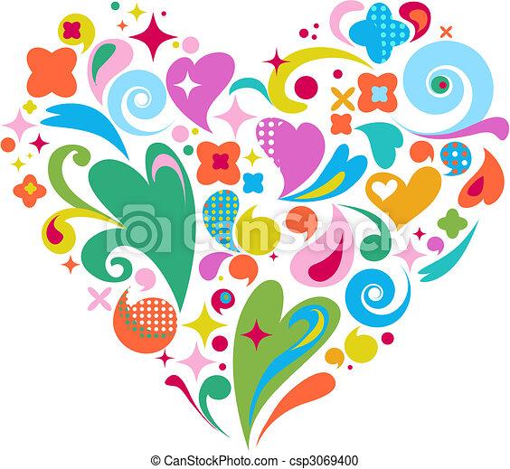 天, 心, 装饰, 矢量, valentines - csp3069400