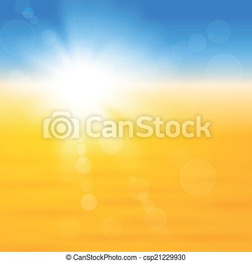 太陽, 上に, 光沢がある, 砂, 背景 - csp21229930