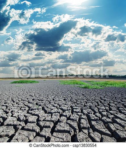 太陽, 干ばつ, 土地, 暑い, 下に - csp13830554