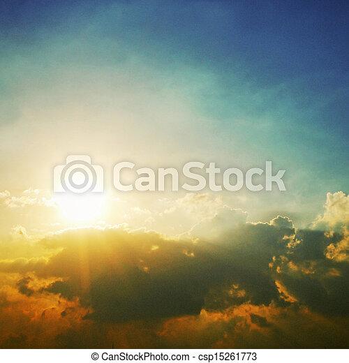 太陽, 戲劇性, 云霧, 天空 - csp15261773