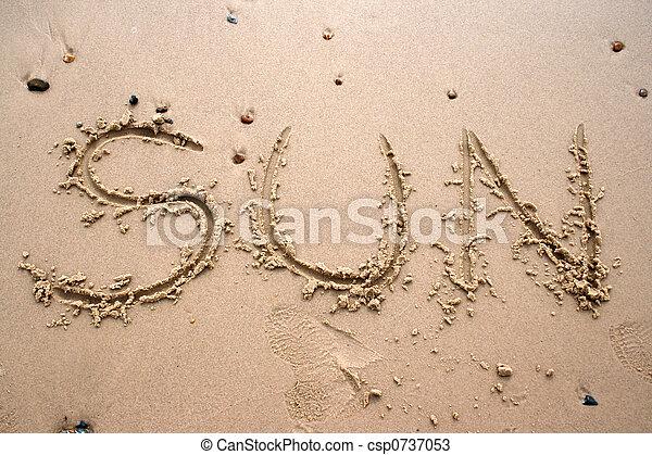 太陽, 沙子, -, 寫 - csp0737053