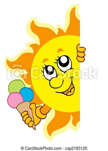 太陽, 潜む, アイスクリーム - csp2183125