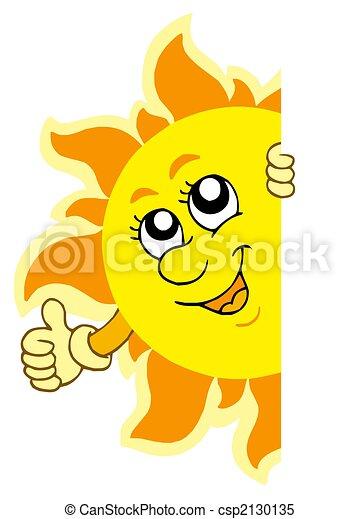 太陽, 潜む, 手 - csp2130135
