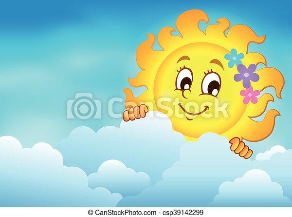 太陽, 空, 曇り, 潜む - csp39142299