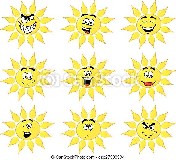 太陽, 隔離された, 漫画, 背景, 顔, 白, 多数 - csp27500304