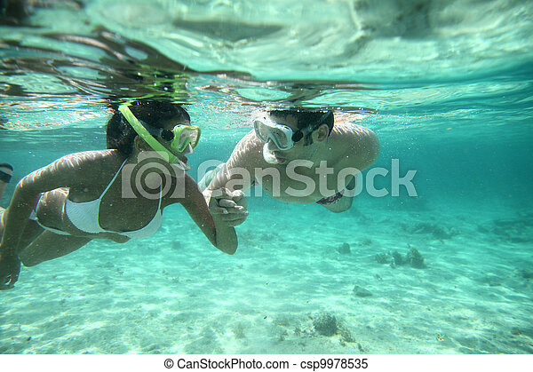夫婦, 加勒比海, 水域, snorkeling - csp9978535
