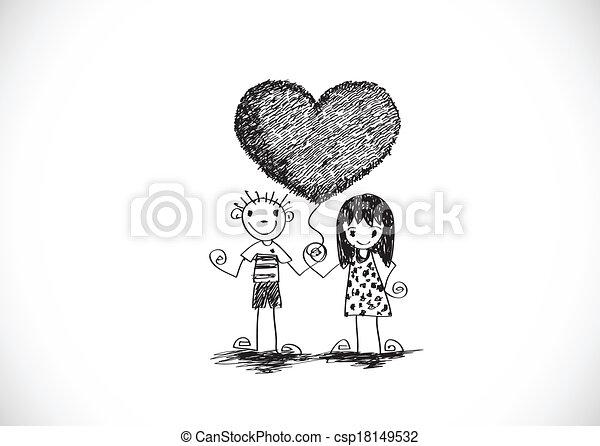 夫婦, 手, w, 婚禮, 畫, 卡通 - csp18149532