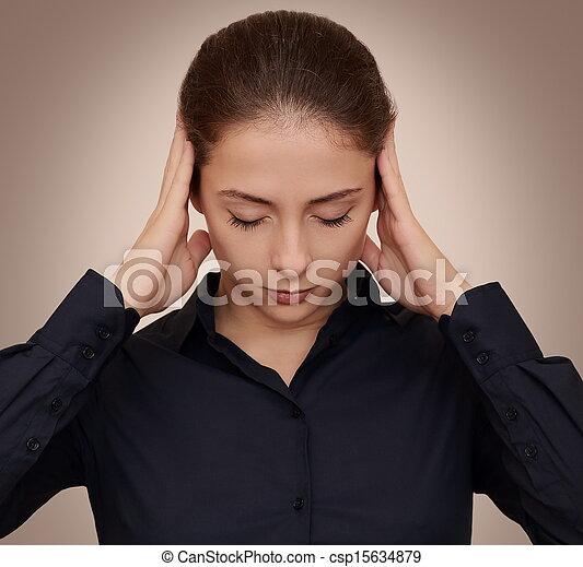 头, 妇女握住, 商业, 思想, 努力, 黑的背景, 手, 集中 - csp15634879